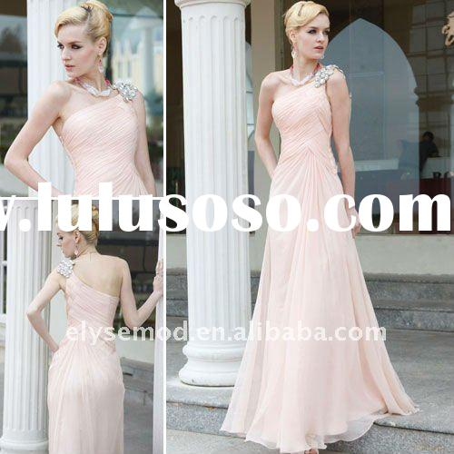 Beautiful A-line Chiffon Crystal Beaded One Shoulder Formal Evening Dress