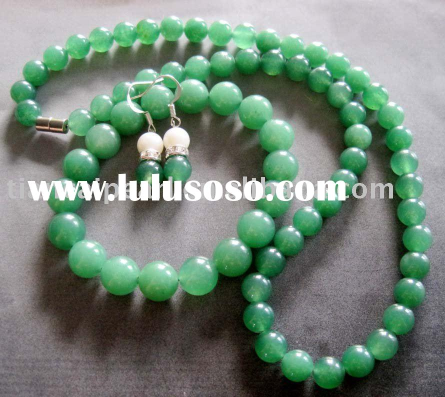 Green Jade Beads Necklace Bracelet Earrings