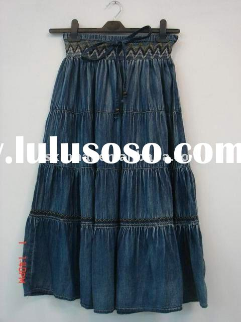Long blue jeans skirt