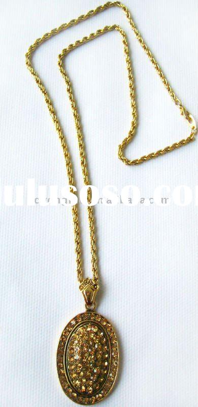 Paving topaz crystal gold plated long chain necklace designs for women