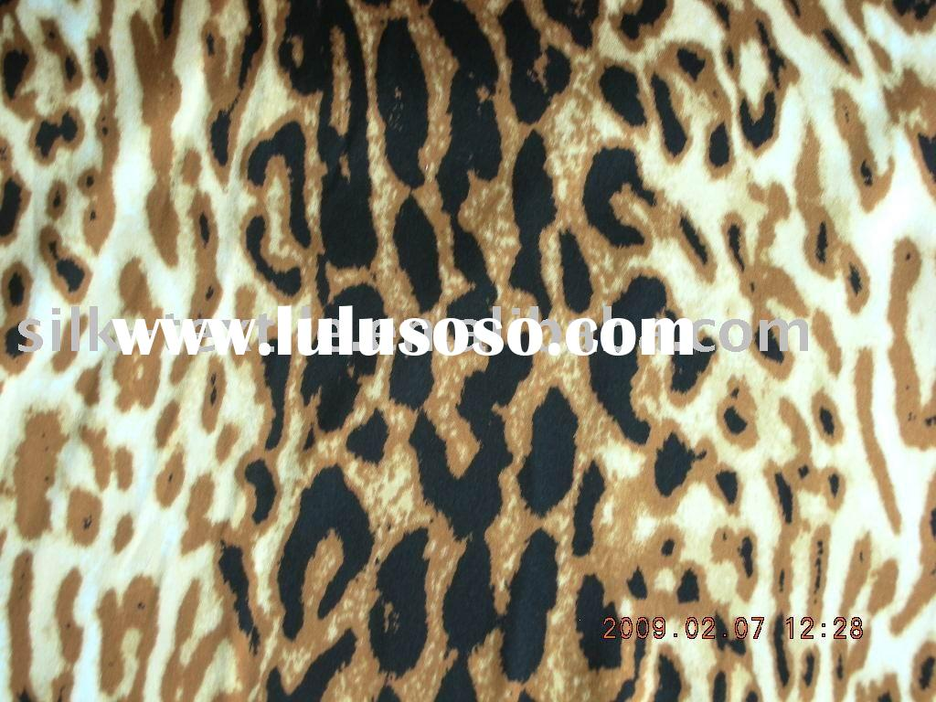 Printed silk satin fabric