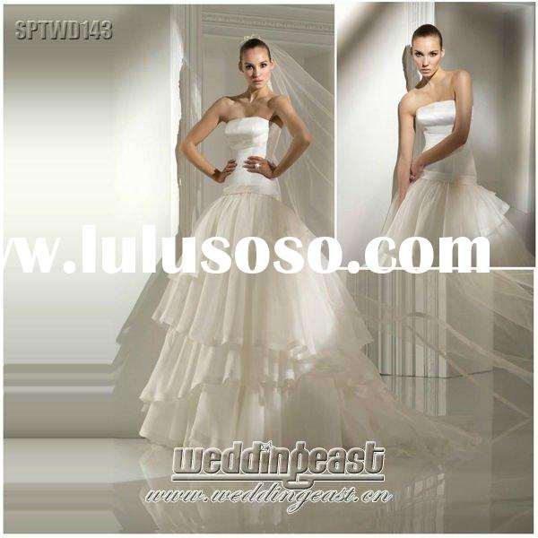 Ruffled Satin Wedding Dress 2012 SPTWD143