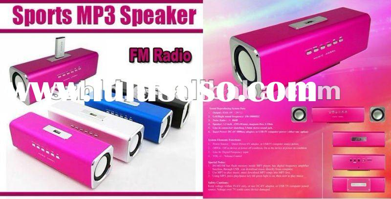 Sports MP3 Player Mini Music Speaker Sound box Boombox with TF Card reader and USB + FM Radio -Music