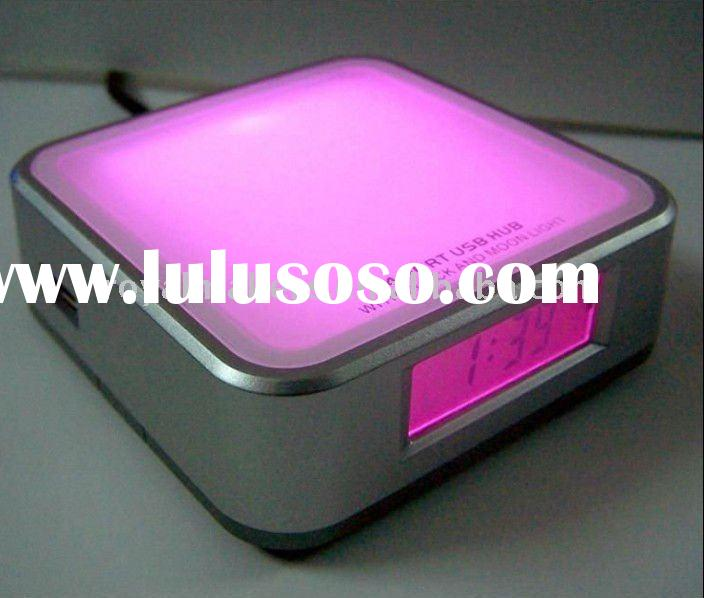 USB HUB clock with 7 color changing mood light