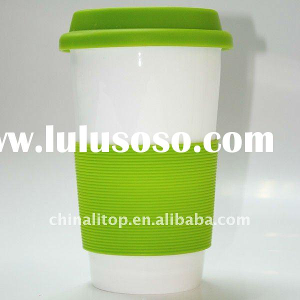 White Advanced Porcelain Eco Thermal Travel Tea Mug Coffee Cup Drink Cup Set with Silicone Lid &