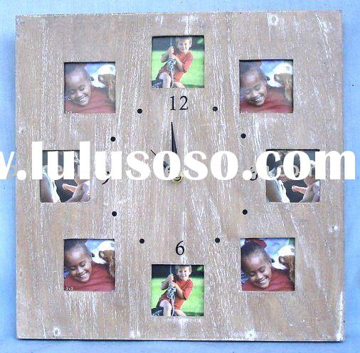 Wooden wall clock with photo frame, with 8 picture frames, without battery