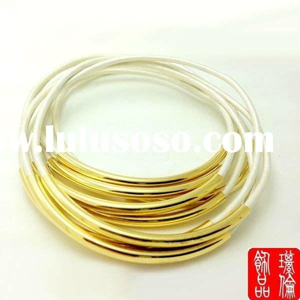 fashion leather strap tube bracelet bangles 18K gold bangles