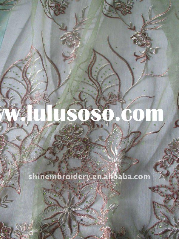 fashionable big flower design with beads for dress making fabric