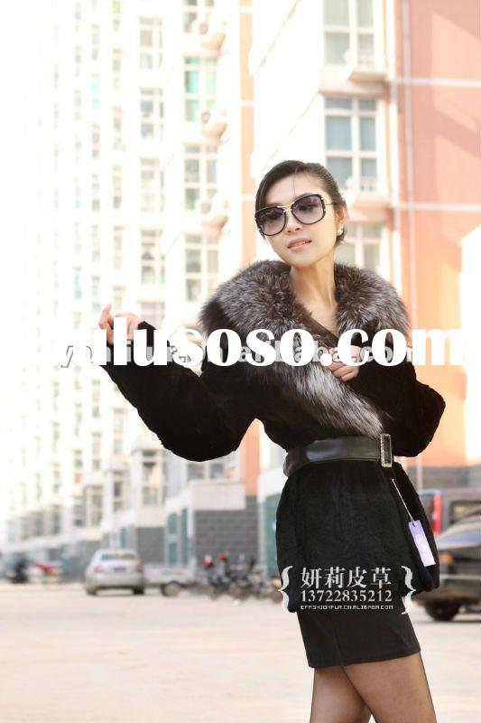 italian design rabbit fur coats with fox fur strim