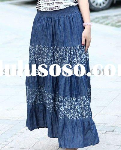 ladies cotton jeans long skirt