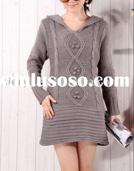 ladies long v neck wool pullover sweater
