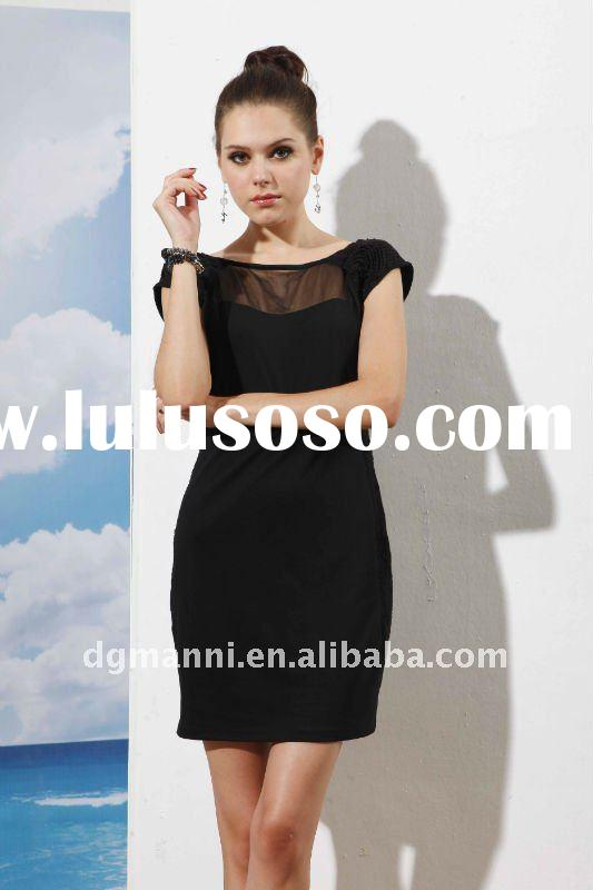 most Brilliant and fashionable casual dress for ladies transparent back knitting silk women'