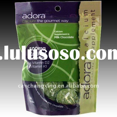 plastic film limalted resealable stand up pouch with zipper for calcium supplement snack packaging