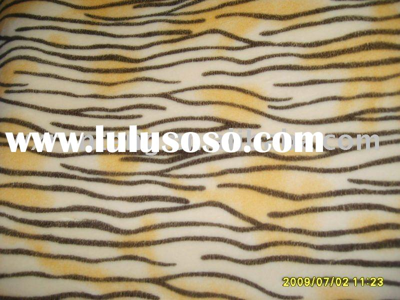 polyester fabric/plush fabric with tiger stripe printed