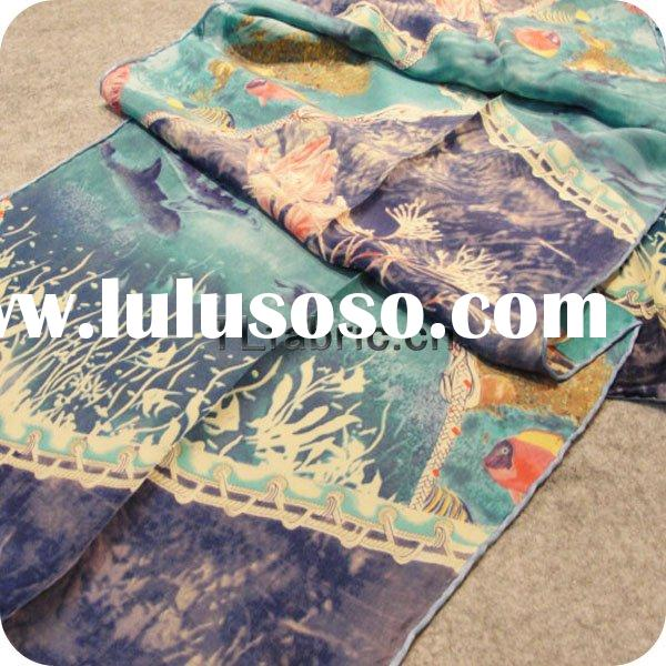 printed silk satin scarf