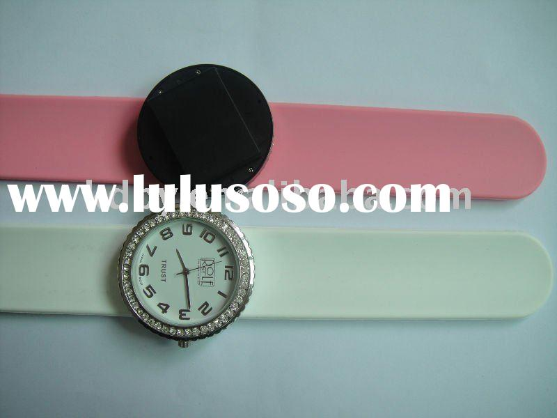 silicone wristband watch/white and red watch strap