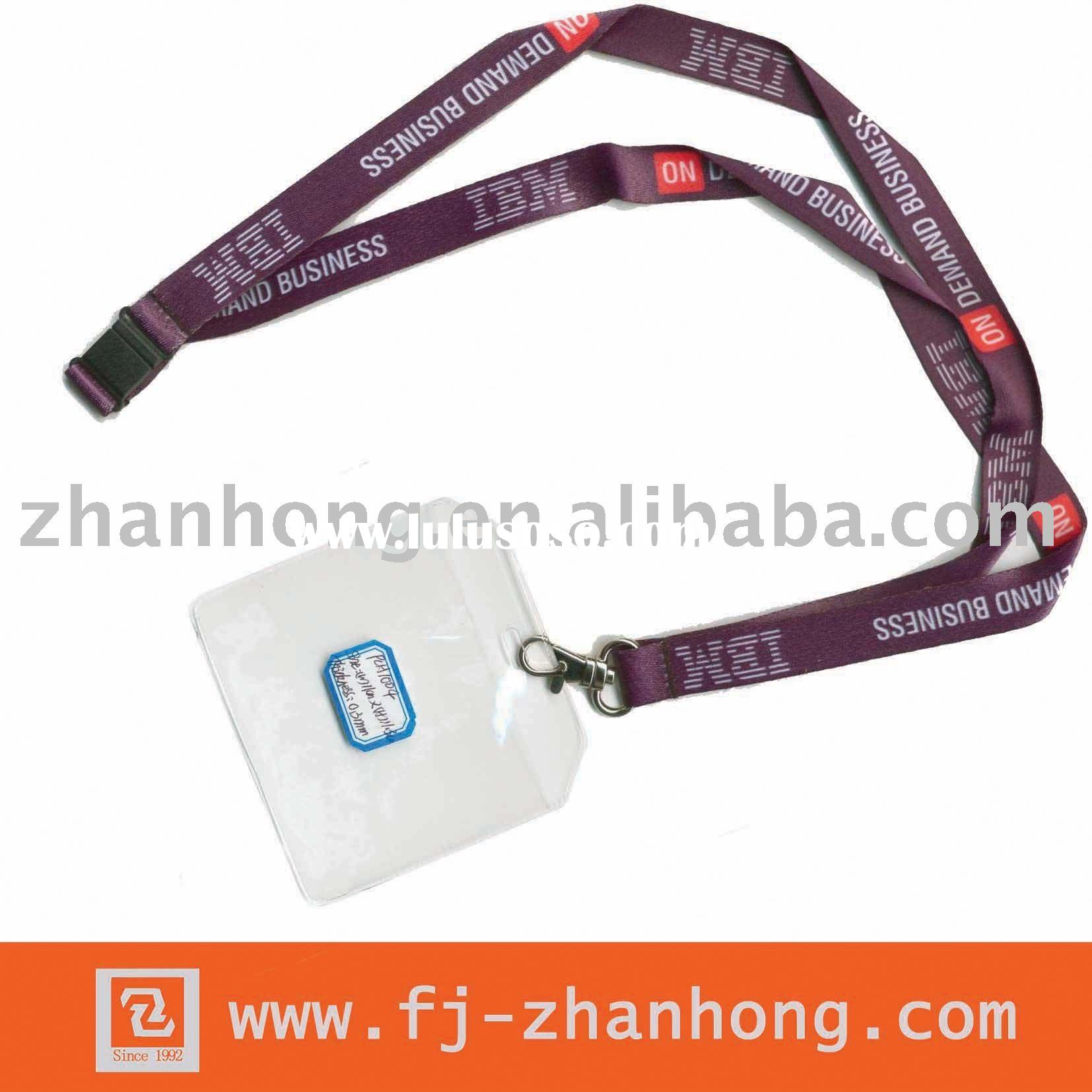 silk screen polyester lanyard with id badge holder CHL004