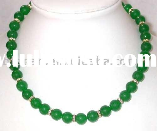 wholesale Gemstone Necklace,green round malaysia jade & necklace
