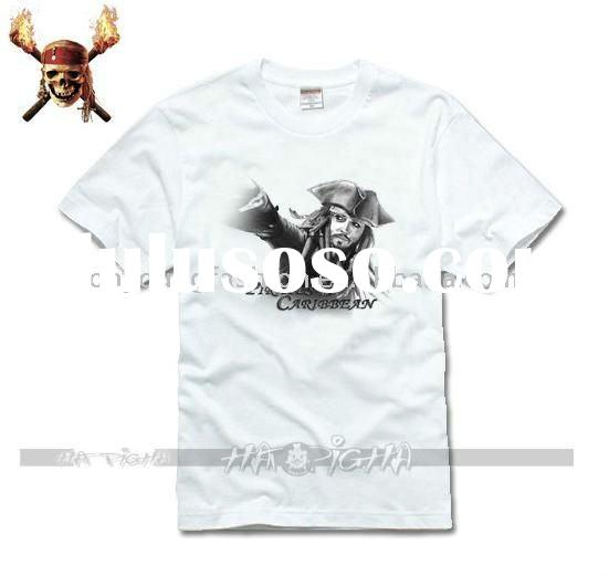 100%cotton 150gsm white jersey print Pirates of the Caribbean logo crew neck short sleeve t shirt