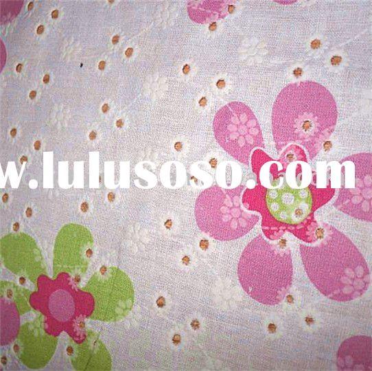 Eyelet embroidery cotton fabric