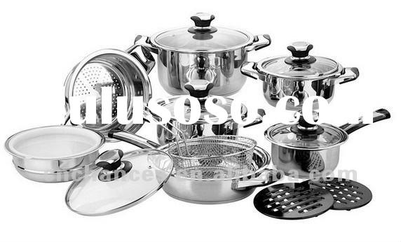 16Pcs Stainless Steel Cookware Set with Temperature Knob