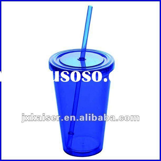 16oz clear plastic tumbler with lid and straw