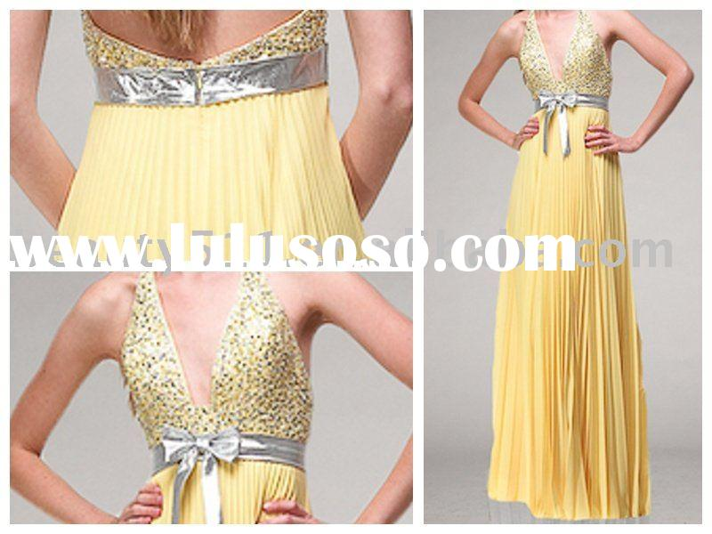 2010 new style halter accordion pleated skirt beading prom dress,prom gown, evening dress, evening g