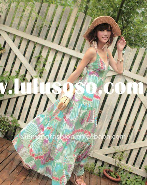 2011 Bohemian style small flower dotted printed long dress
