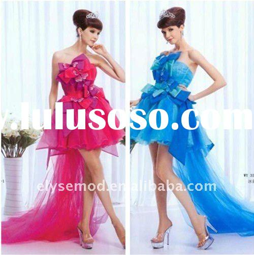 2011 Fashionable Strapless Short Evening Dress with Long Train