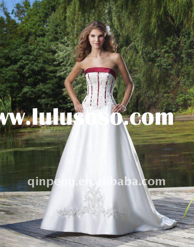 2011 Latest design satin white wedding dresses SFWD3681