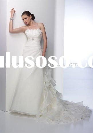 2011 Low back with large bow and detachable ruffle train Wedding Dresses