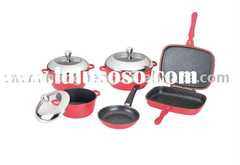 2011 NEW 9pcs Marble Cookware Die-cast Aluminium Non-stick Cookware set(Y-1009)