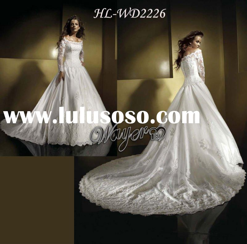 2011 New Arrival Classic Luxury Lone Sleeve Lace Royal Wedding Dresses HL-WD2226