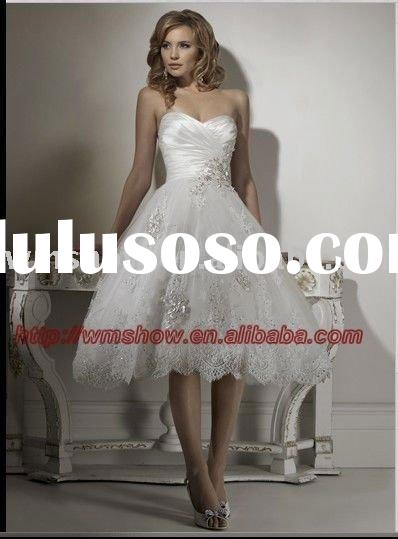 2011 New Arrival Handwork Sweetheart Appliqued Lace Short Wedding Dresses