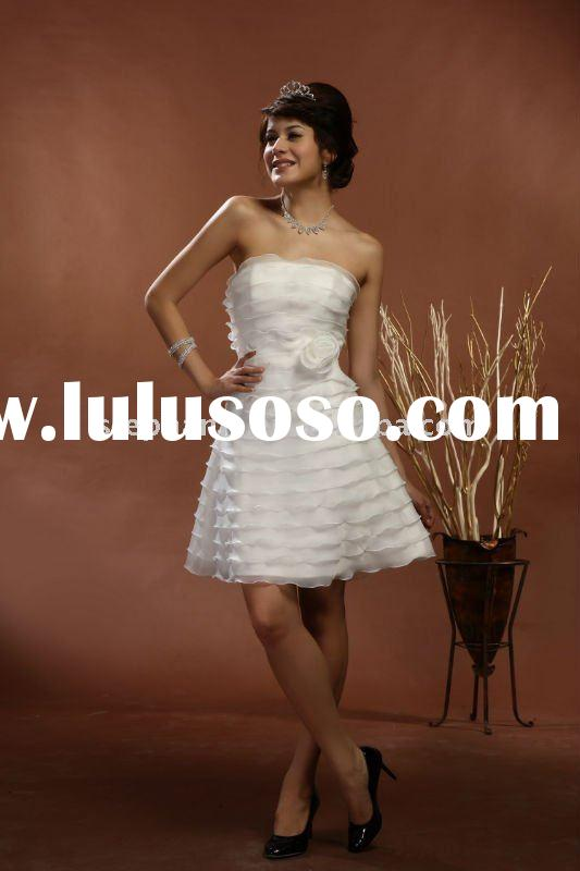 2011 New Arrival Royal Flat Neckline Organza Frill Short Wedding Dresses (L1)