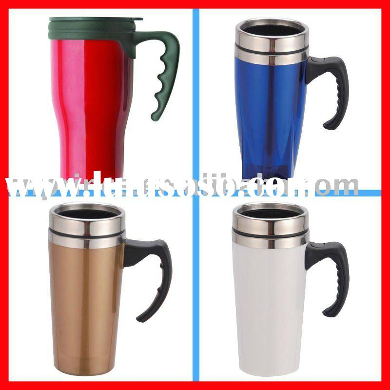2011 New double wall travel coffee plastic mugs and cups