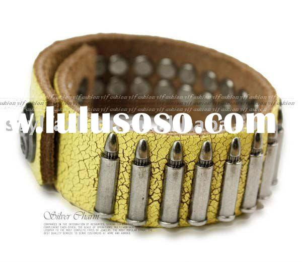 2011 Newest Coolest Leather Jewelry Cow Leather Bracelet Wristband Bangle PI0171-1