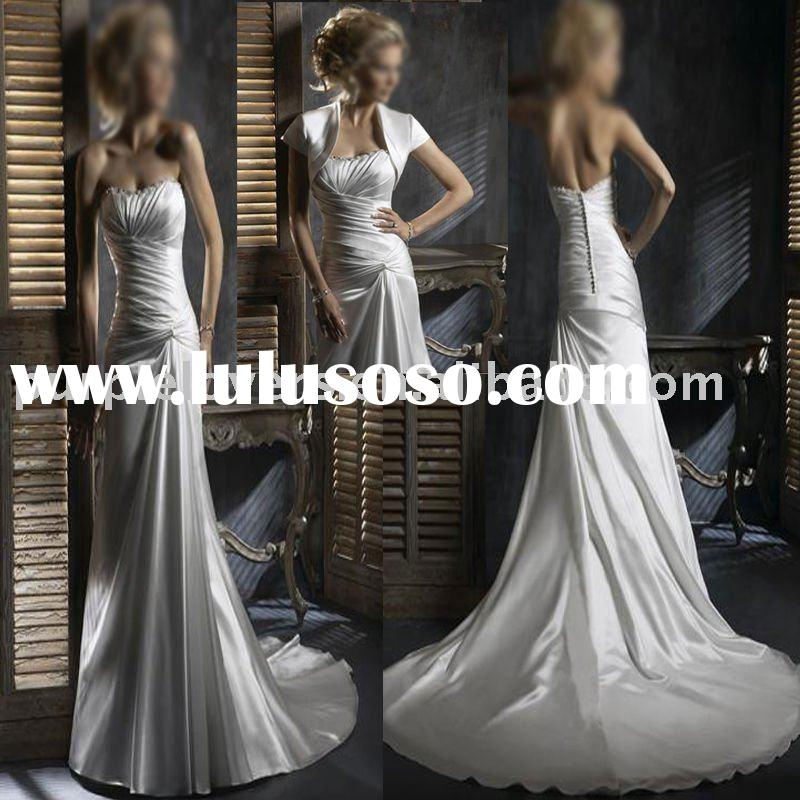 2011 Ruching simple A-line low back wedding dress