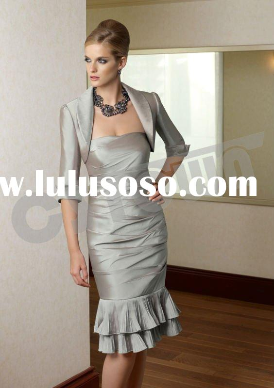 2011 Silvery Satin Strapless Knee Length Evening Dress with Pleat