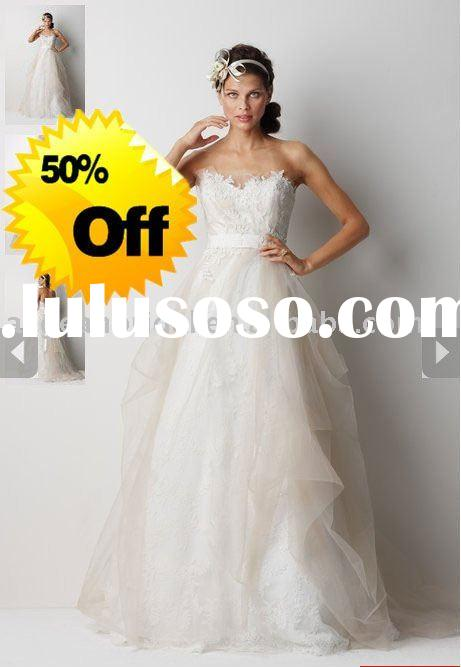 2011 Spring Promotion Colletion 50% OFF Cheap Lace wedding dress with high quality W7112