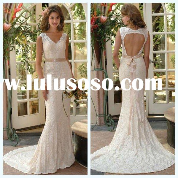 2011 Top Design Sheer Strap A-line Sleeveless Lace Appliqued Satin Open Back Wedding Dress