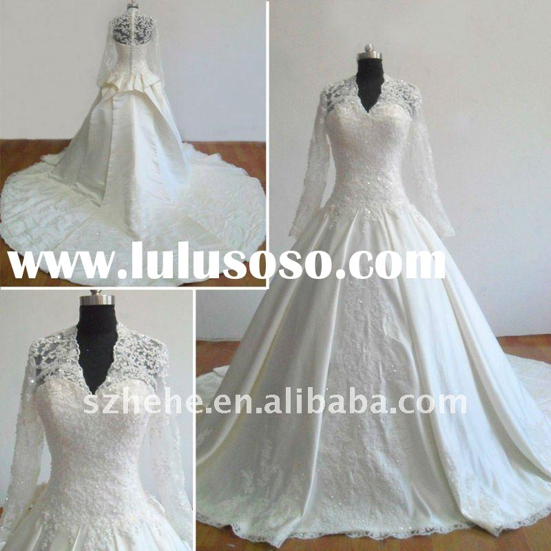 2011 delicate lace Kate Middleton's wedding dress arabic style