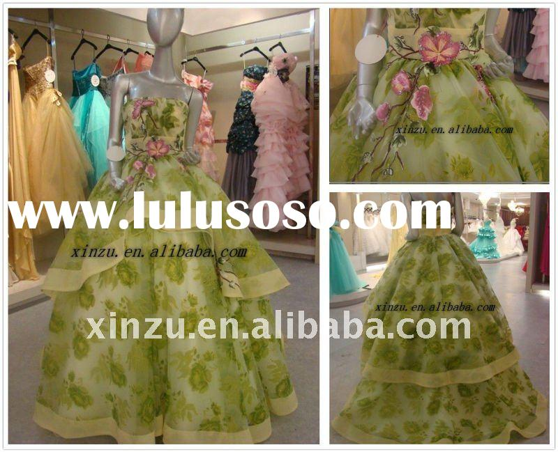 2012 Elegant Strapless A-line Flower Embroider Ball Gown Prom Dresses--L10328