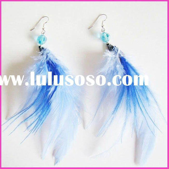 2012 Fashion long feather earrings for ladies