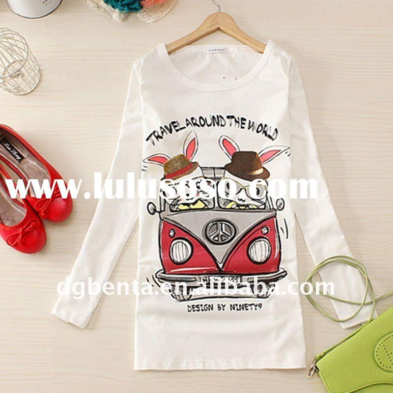 2012 Hot Selling High Quality Plain Long Sleeve Cotton Lady's Printing T-Shirt