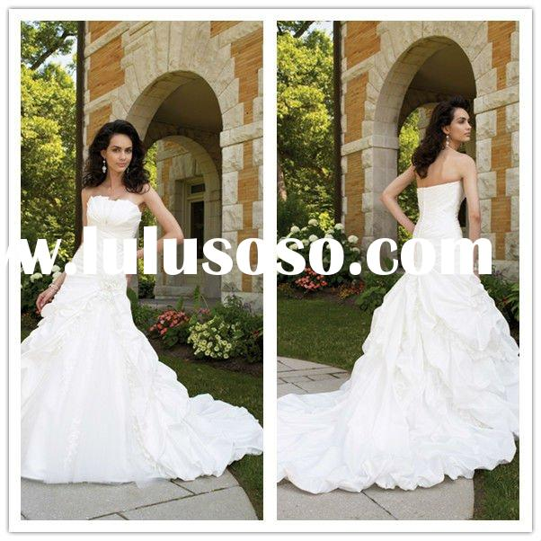 2012 New Affordable Strapless arabic wedding dresses Chapel Train Fold A-line Taffeta Embroidery Bri