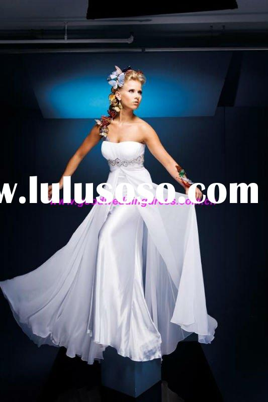 2012 New Arrival Elegnat White Floor Length Strapless Beaded Chiffon Prom Dresses Gown