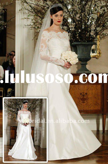 2012 White long sleeve Lace wedding dress DC-MR004