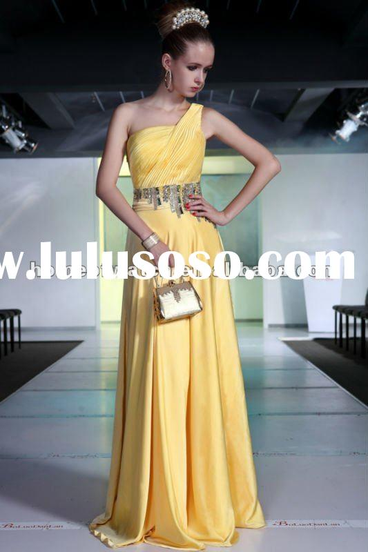 2012 Yellow Silk Satin One Shoulder Evening Dresses,Prom Dress (NBY0DR30814)