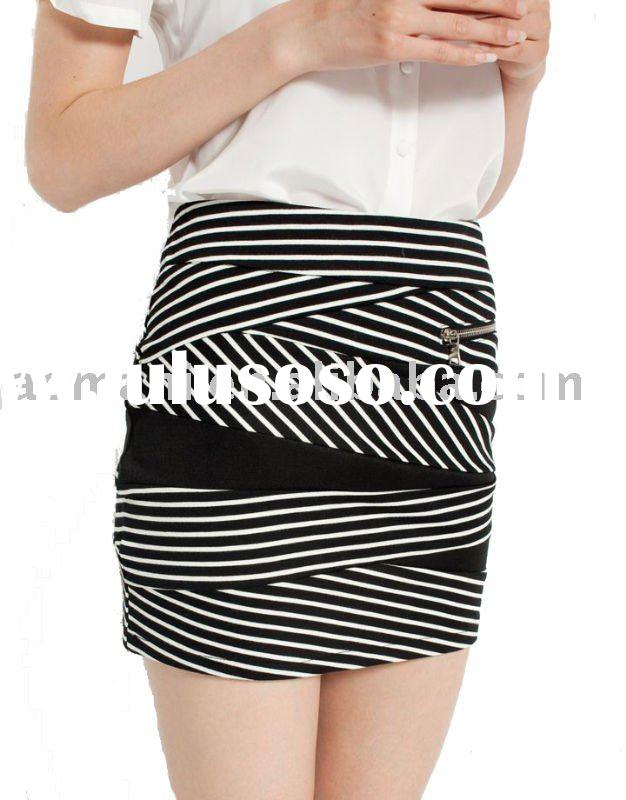 2012 fit black and white stripe women skirts